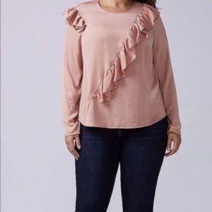Lane Bryant petal pink silky ruffle blouse